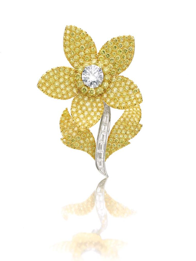 A Graff yellow diamond brooch from Dimitri Mavrommatis' private collection of jewels will go under the hammer at Sotheby's Geneva sale on 12 November 2014 (estimate: US$100,000-150,000).