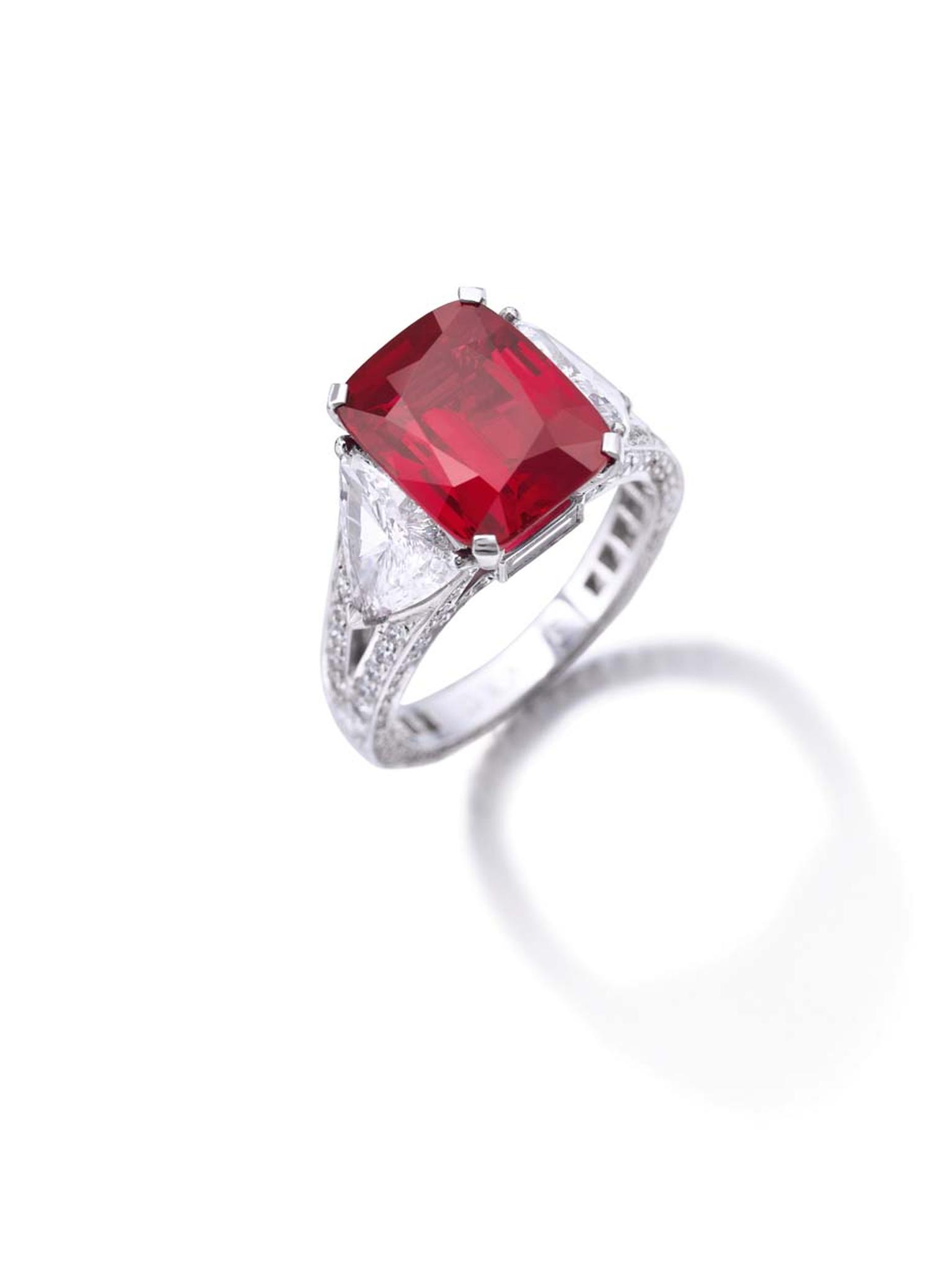 "A Graff Ruby ring featuring a cushion-cut 8.62ct Burmese ruby in a ""pigeon's blood"" shade of red (estimate:US $6.8 - 9 million)."