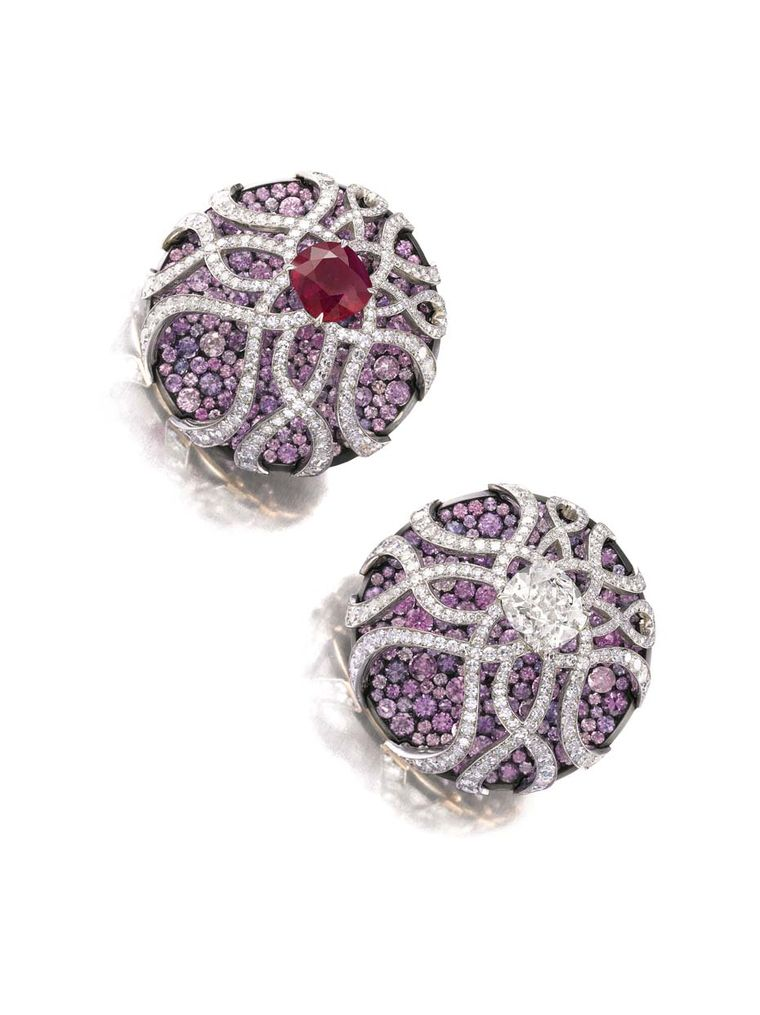 Sapphire, ruby and diamond earrings by JAR from Dimitri Mavrommatis' private collection to be auctioned by Sotheby's Geneva this November (estimate: US$400,000-700,000).
