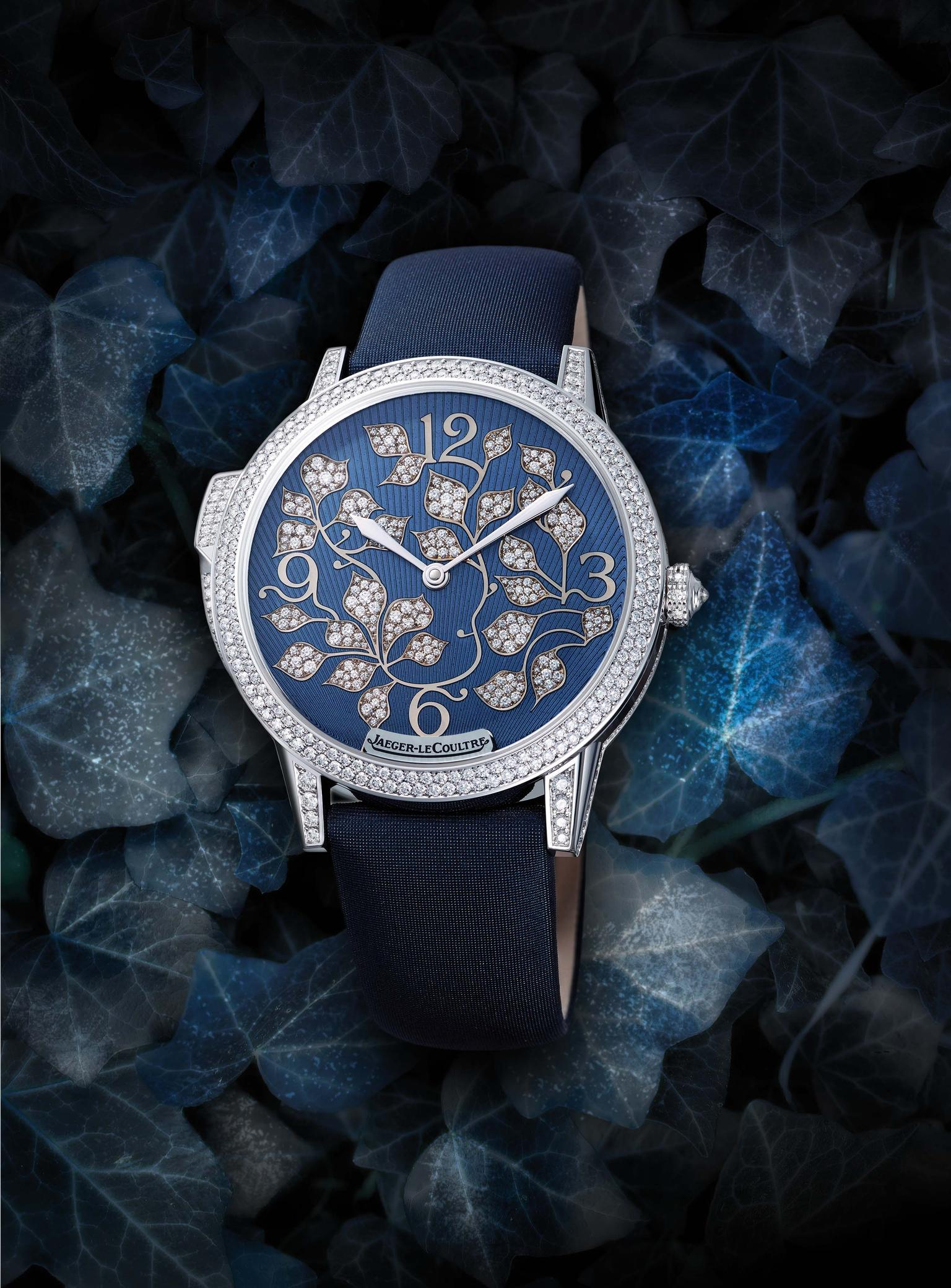 The new Jaeger-LeCoultre Rendez-Vous Ivy Minute Repeater watch for women mmediately seduces the eye with its snow-set diamond ivy leaves that swirl across the deep blue enamel dial, which is decorated with a sunburst guilloché motif.