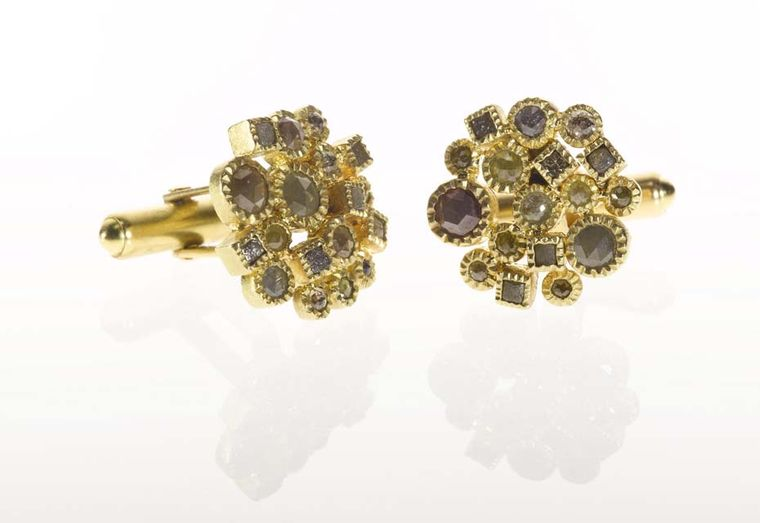 Todd Reed cufflinks in gold with 4.77ct of rose-cut diamonds and raw diamond cubes.