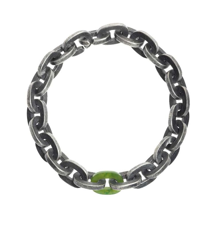 Todd Reed sterling silver and green jade link bracelet, from the new Men's Jewelry Collection.