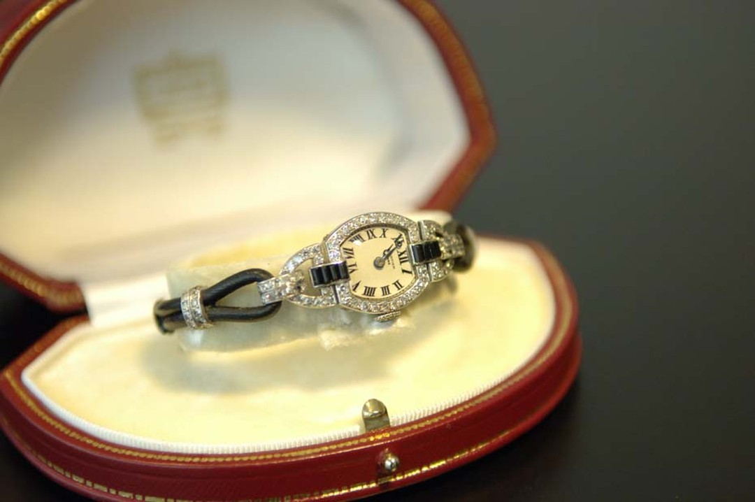 Another London-based exhibitor at Fine Art Asia is antique watch and clock specialist Somlo Antiques, which is showcasing a 1920s Cartier lady's cocktail watch in platinum set with diamonds and onyx.