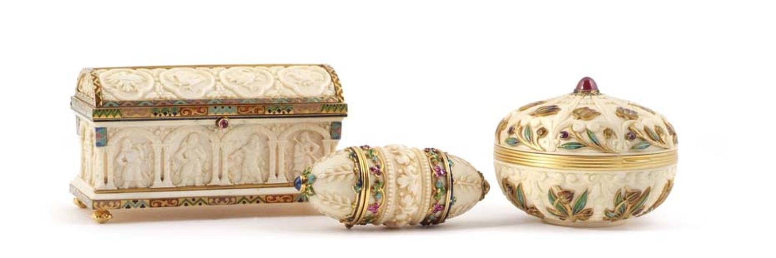 These one-of-a-kind bejewelled enamel and ivory containers, exhibited at Fine Art Asia by Symbolic & Chase, were crafted by the celebrated jeweller George Le Sache for Boucheron in the late 19th century.