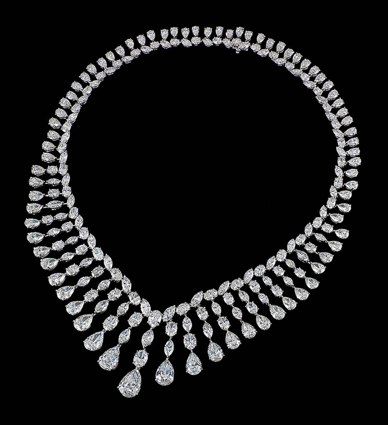 Dehres, Hong Kong, will also be exhibiting The Majestic Set necklace with pear-shaped diamonds graduating from a 5.00ct centre stone with successive rows of oval and marquise diamonds.
