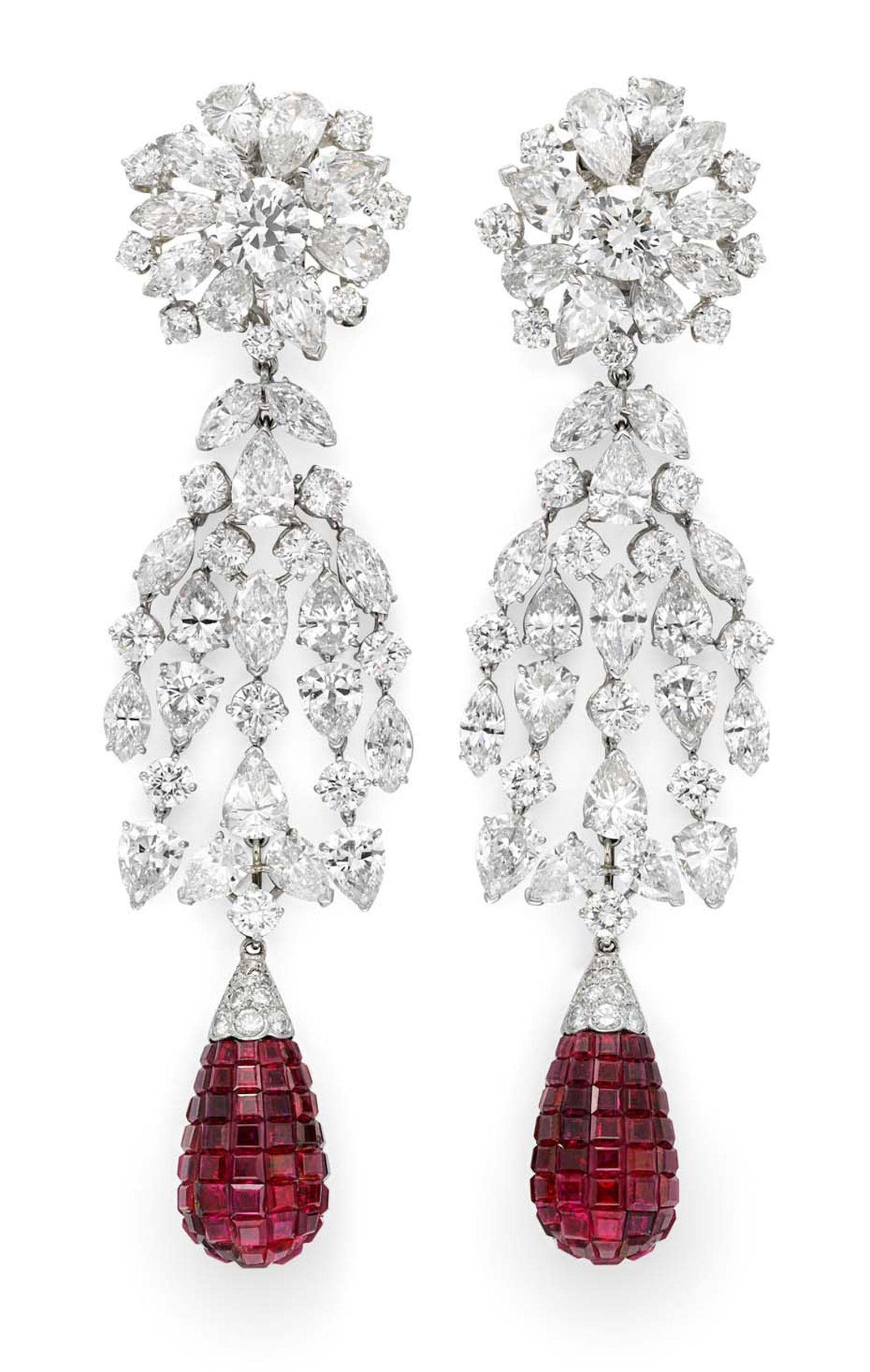 Simon Teakle Fine Jewellery, USA, is exhibiting a rare pair of Van Cleef & Arpels mystery set ruby and diamond earrings circa 1930.