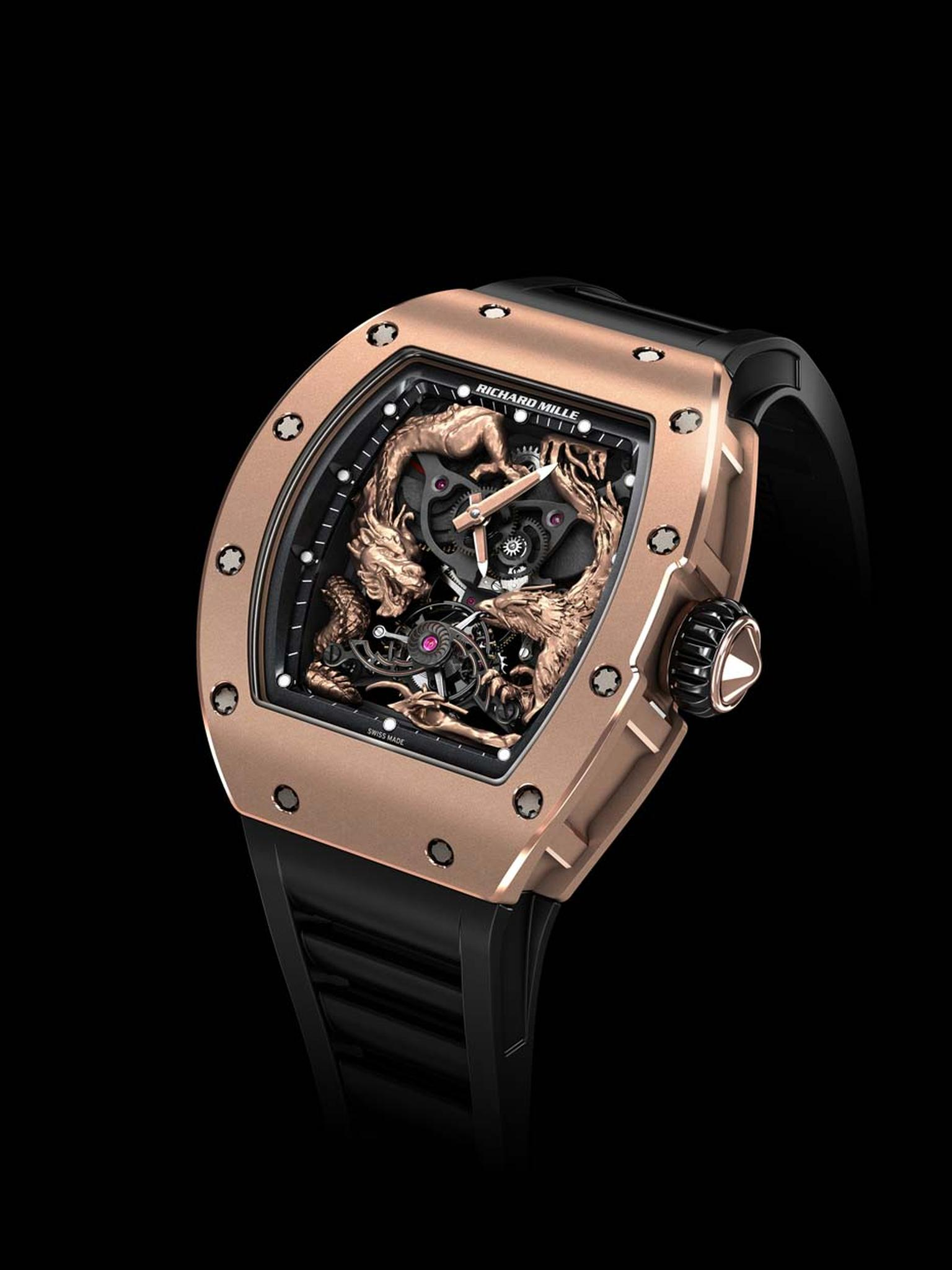 The Richard Mille RM 57-01 Phoenix and Dragon Jackie Chan watch features a hand-sculpted rose gold dragon curled around the left side of the case and a phoenix, wings spread in flight, on the right.