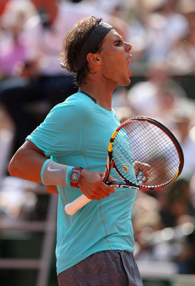 Spanish tennis star Rafael Nadal wore the Richard Mille RM 27-01 Tourbillon Rafael Nadal watch on court during Wimbledon 2014. Image: Getty