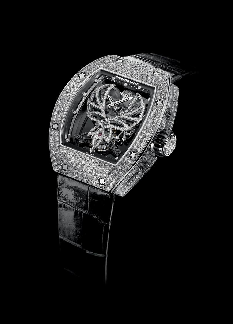 The Richard Mille RM 051 Phoenix watch, created in collaboration with Michelle Yeoh, with a white gold, gem-set case and manual winding tourbillon movement.