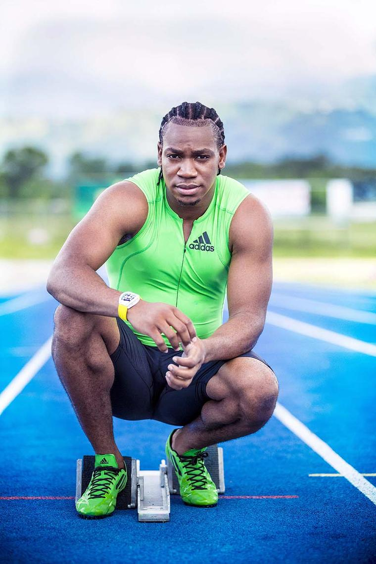 Yohan Blake wore a prototype of the RM 59-01 Tourbillon Yohan Blake watch throughout the London 2012 Olympic Games. It gained an enormous amount of media attention for its Jamaican flag colour scheme.