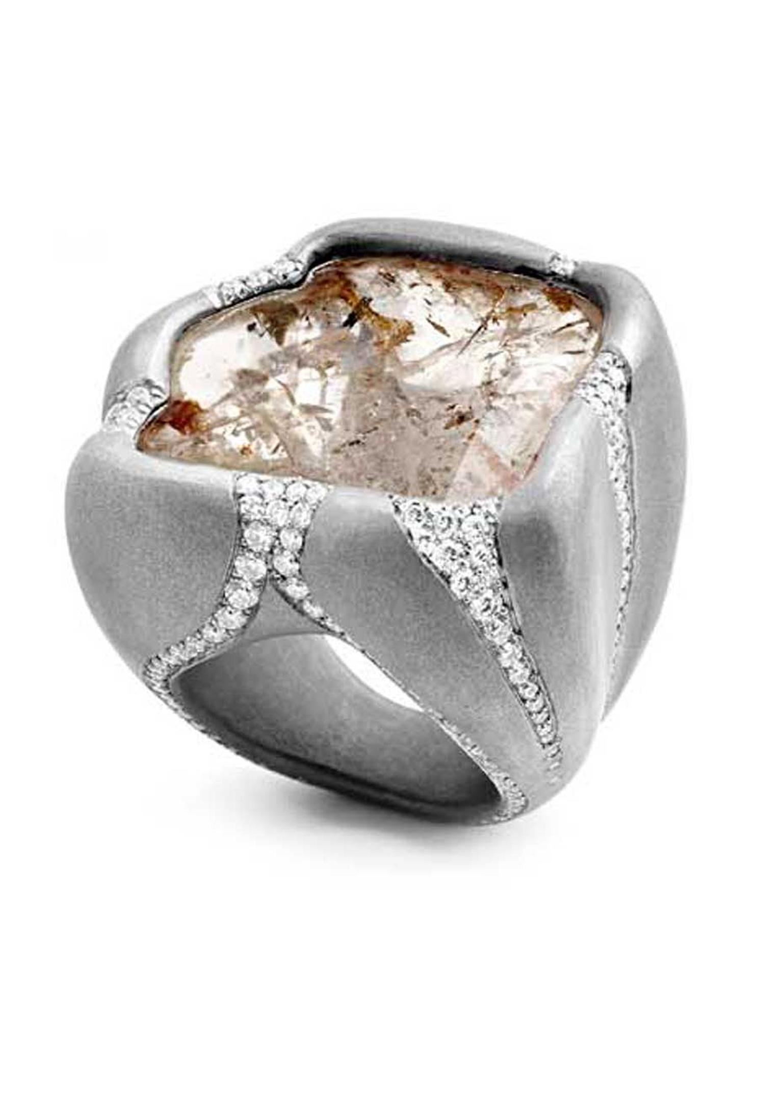 Suzanne Syz Rocky Baby titanium ring set with one flat 16.00ct denditrique diamond and 215 diamonds.