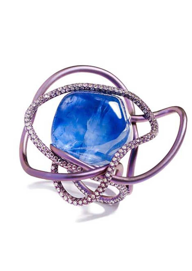 Suzanne Syz Sugar Baby Love titanium ring with a 51.99ct centre cabochon sapphire surrounded by more than 400 pink diamonds.