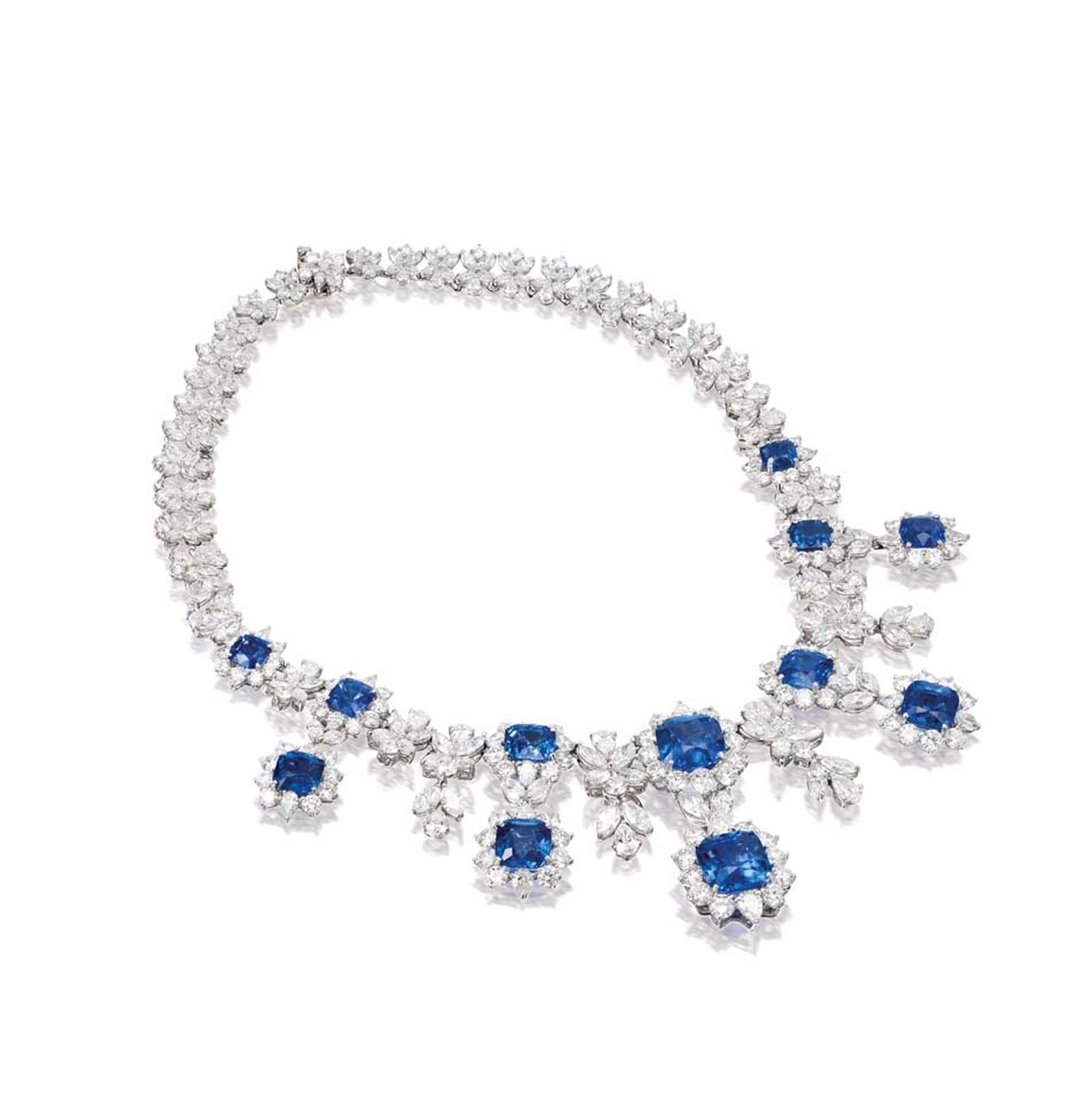 The most valuable jewels in the line-up are a sapphire and diamond Marina B necklace with matching earrings. Sold as a set, the Amelia suite's estimated £305,000-390,000 price tag reflects the fact that the necklace alone features more than 100 carats of