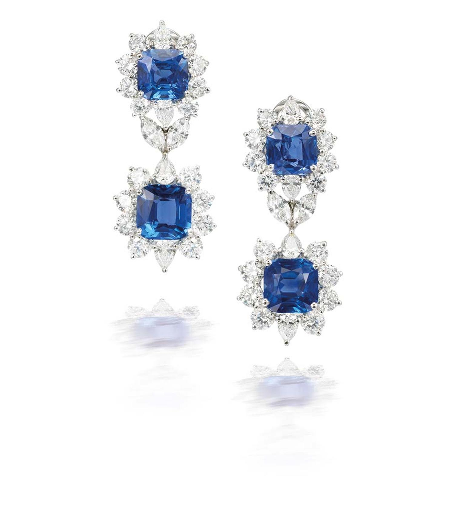 Sapphire and diamond earrings - part of the Amelia suite by Marina B - featuring Ceylon sapphires (estimate for the suite: £305,000-390,000).