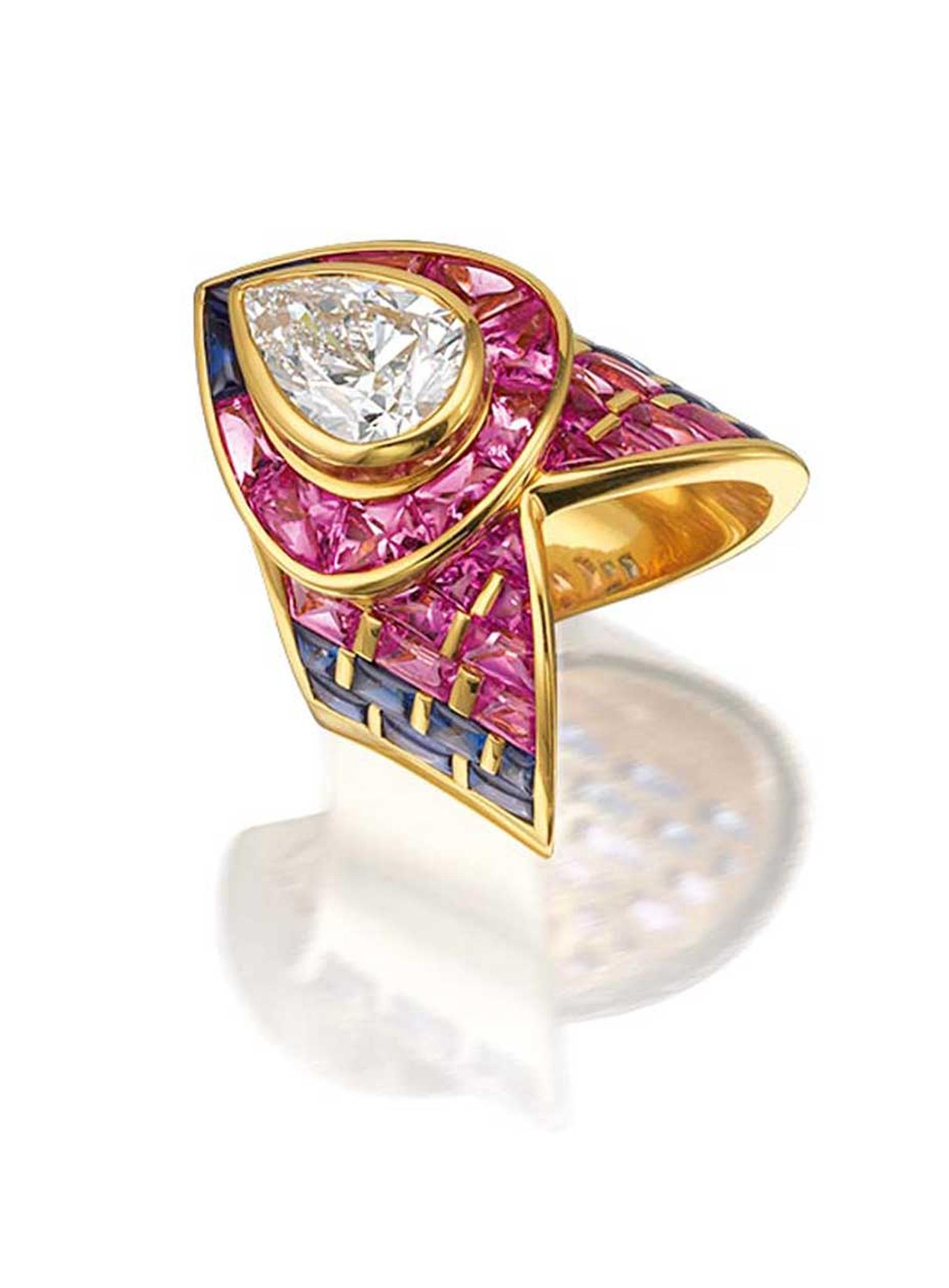 Marina B claw ring featuring a 3.02ct pear-shaped diamond surrounded by pink and blue sapphires (estimate: £27,300-43,000).