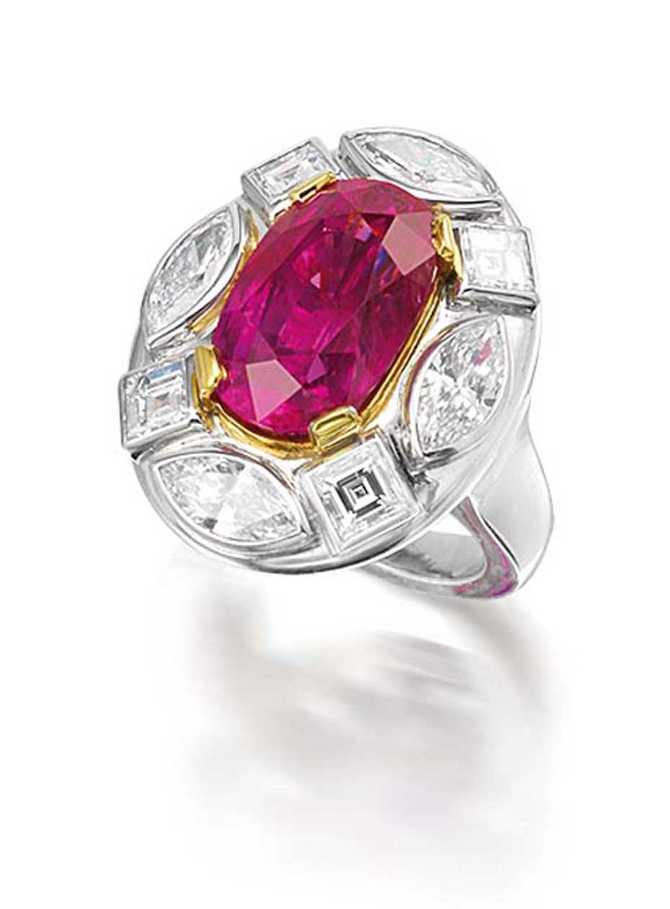 Ruby and diamond Georgina ring by Marina B with a 10.54ct Burmese ruby surrounded by marquise and Asscher-cut diamonds.