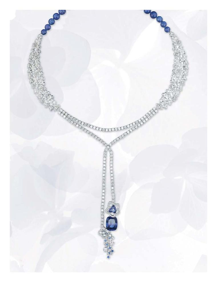 Chaumet Hortensia necklace in platinum with diamonds, tanzanite, sapphires and a cushion-cut 10.73ct tanzanite.