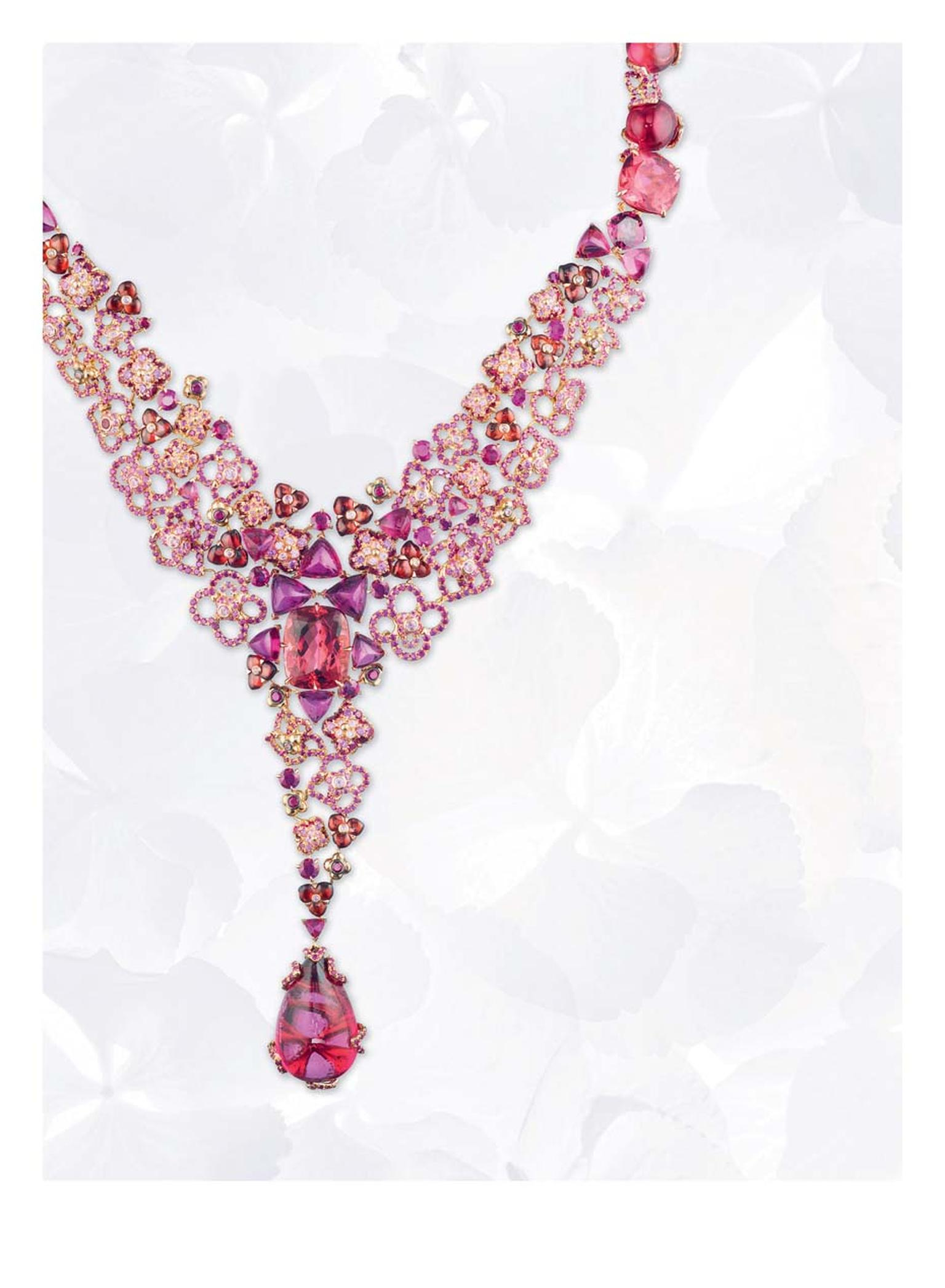 Chaumet Hortensia pink gold necklace with rubies, pink sapphires, rhodolite garnets, red and pink tourmalines and a 25.68ct cabochon-cut pear-shaped red tourmaline drop.