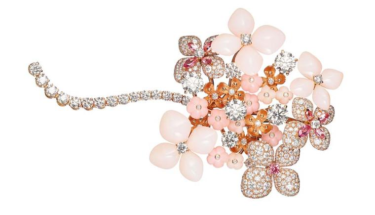 Chaumet Hortensia brooch in pink gold set with angel-skin coral, pink opal, marquise-cut pink tourmalines, brilliant-cut pink sapphires and brilliant-cut diamonds.