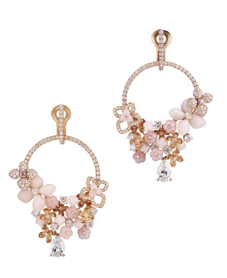 Chaumet Hortensia earrings in pink gold set with angel-skin coral, pink opal, marquise-cut pink tourmalines and brilliant-cut diamonds.
