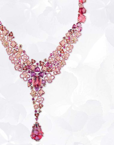 Chaumet Hortensia necklace in pink gold with rubies, pink sapphires, rhodolite garnets, red and pink tourmalines and a 25.68ct cabochon-cut pear-shaped red tourmaline drop.