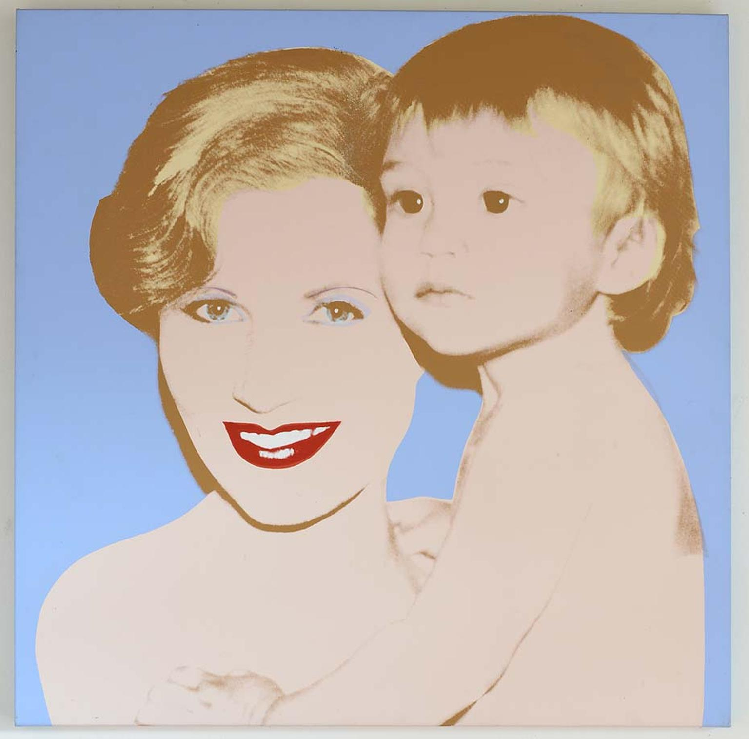 Andy Warhol was a friend of Syz and a major influence on her creations. Pictured is a Warhol painting of Syz and her son.