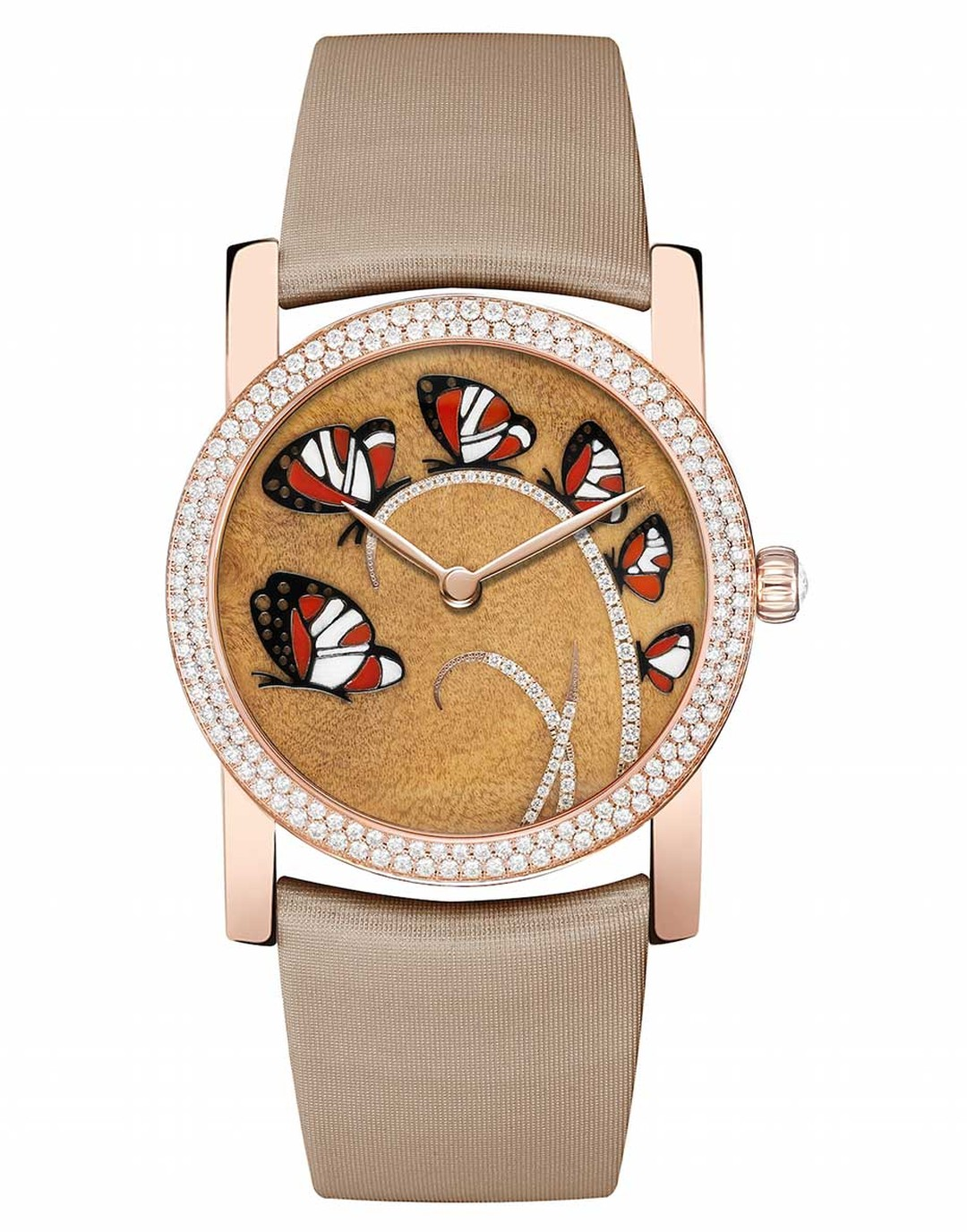 Chaumet Attrape-moi...si tu m'aimes (Catch me...if you love me) watch in pink gold, with a dial decorated with six butterflies set against a precious myrtle burl wood background. The butterfly wings are made from inlaid red carnelian, white wood and black