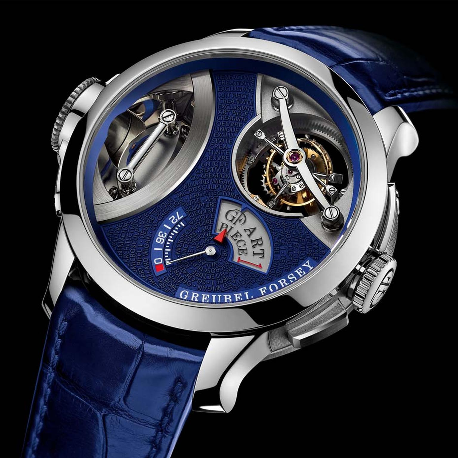 Greubel Forsey's Art Piece 1 watch incorporates a nano-sculpture of a gold caravel ship measuring a miniscule 0.31 x 0.95 x 1.22mm by British sculptor Willard Wigan.To view it, a microscope lens has been incorporated on the lateral crown.
