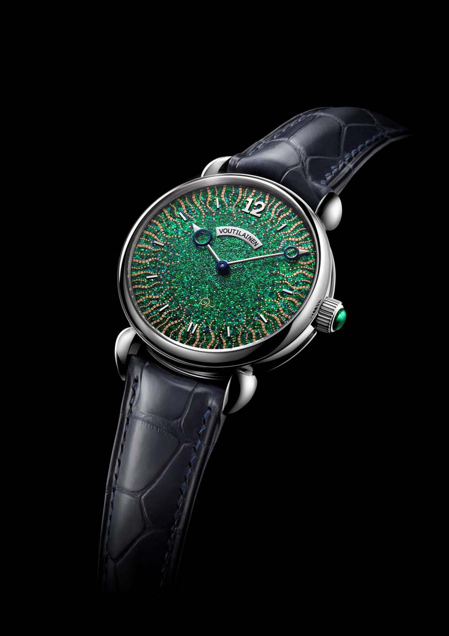 The Voutilainen Hisui watch is a fusion of Swiss watchmaking prowess and the ancient Japanese art of lacquer practiced in the Edo period. Both the dial and the bridges of the movement have been lacquered, which took a total of 1,000 hours to complete.