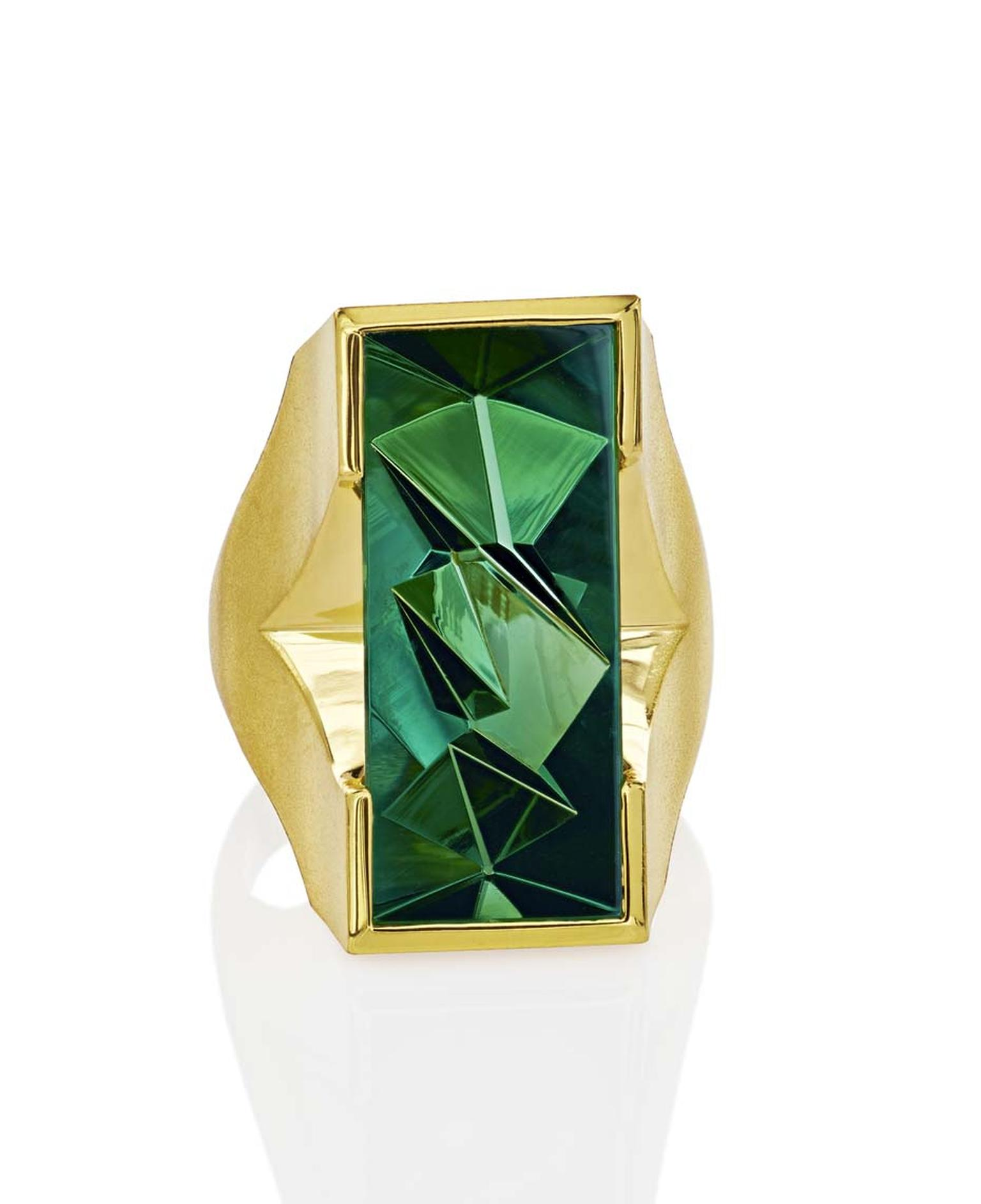 Atelier Munsteiner, who has worked with Aaron Faber since the start of his career, is exhibiting this yellow gold ring with a 10.62ct tourmaline at the New York gallery.