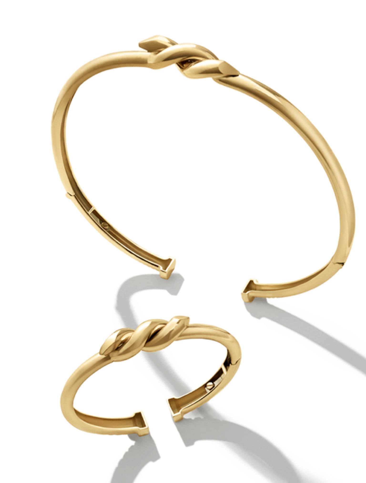 David Webb Twisted Nail gold collar and bangle, available from The Editorialist. The e-tailer also has an in-house concierge service that offers bespoke services, styling advice, and access to pre-ordering seasonal items.