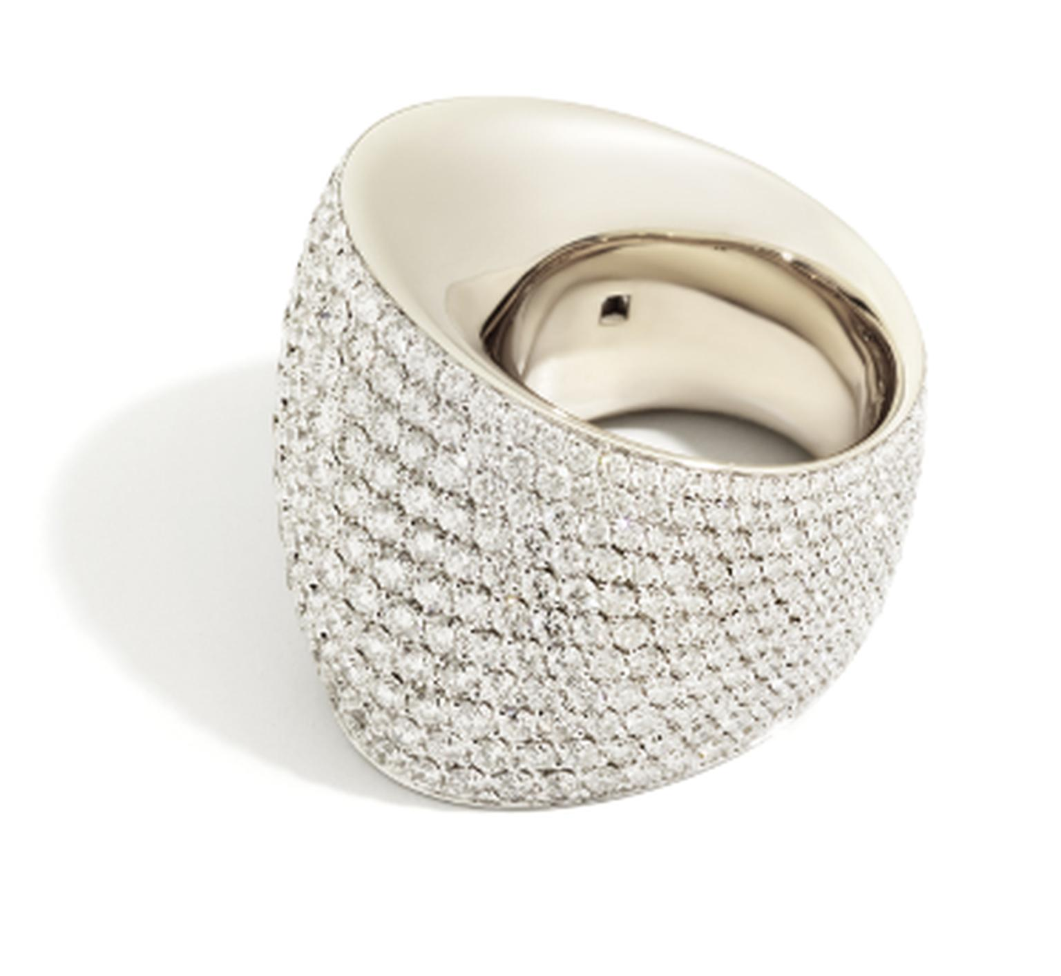 Vhernier Tonneau ring in white gold with white diamonds. An Editorialist exclusive.