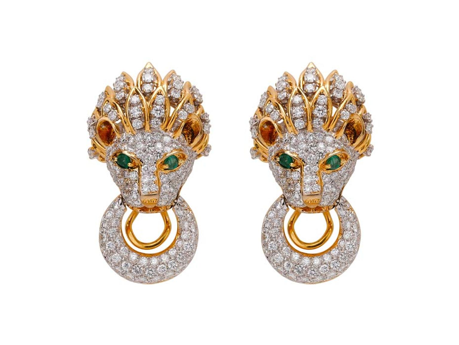 Latest Revival vintage Gold Lion earrings with diamonds, from the Estate Collection.
