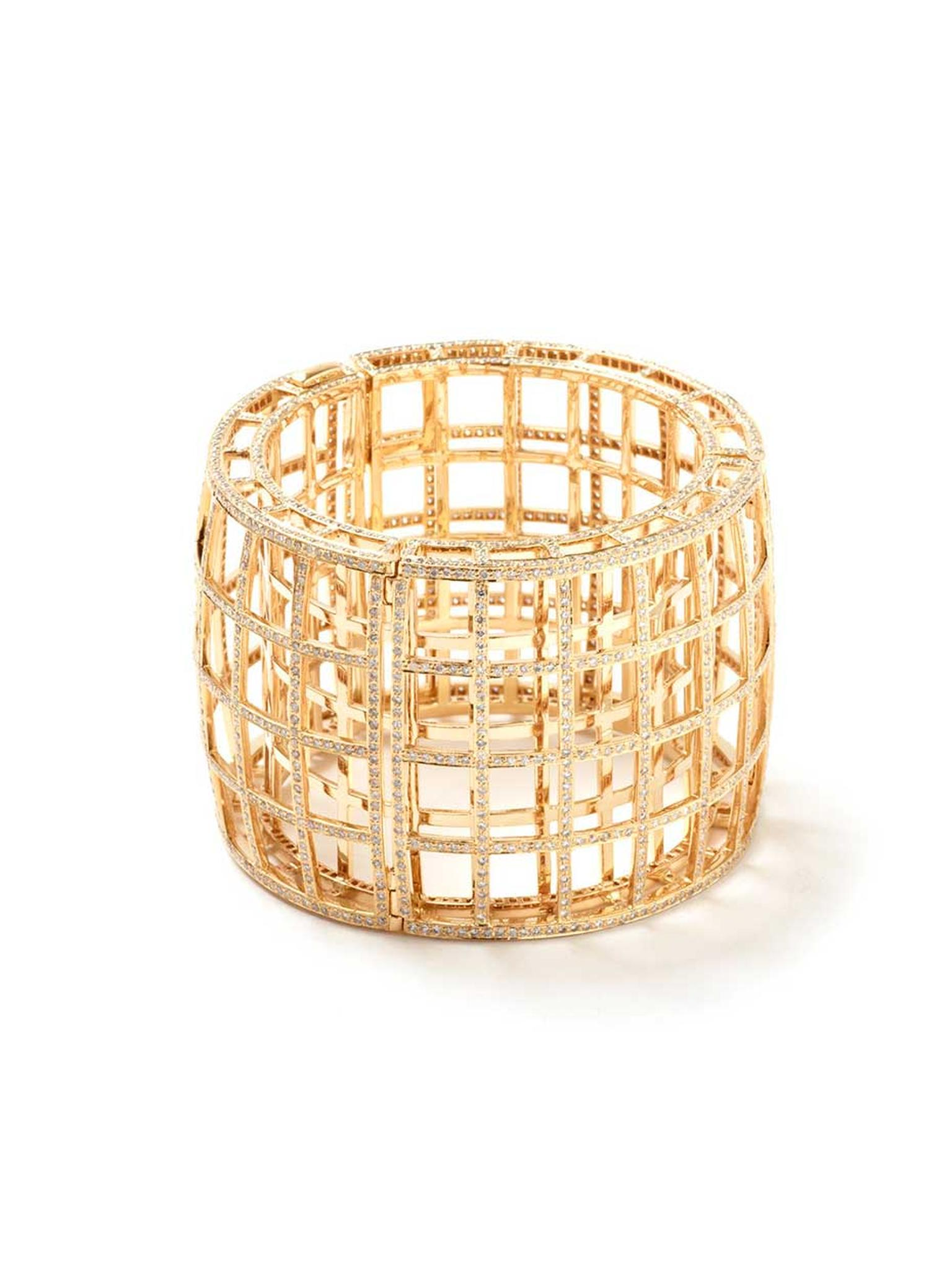 Maiyet gold Cage bracelet with diamonds, available from Latest Revival.