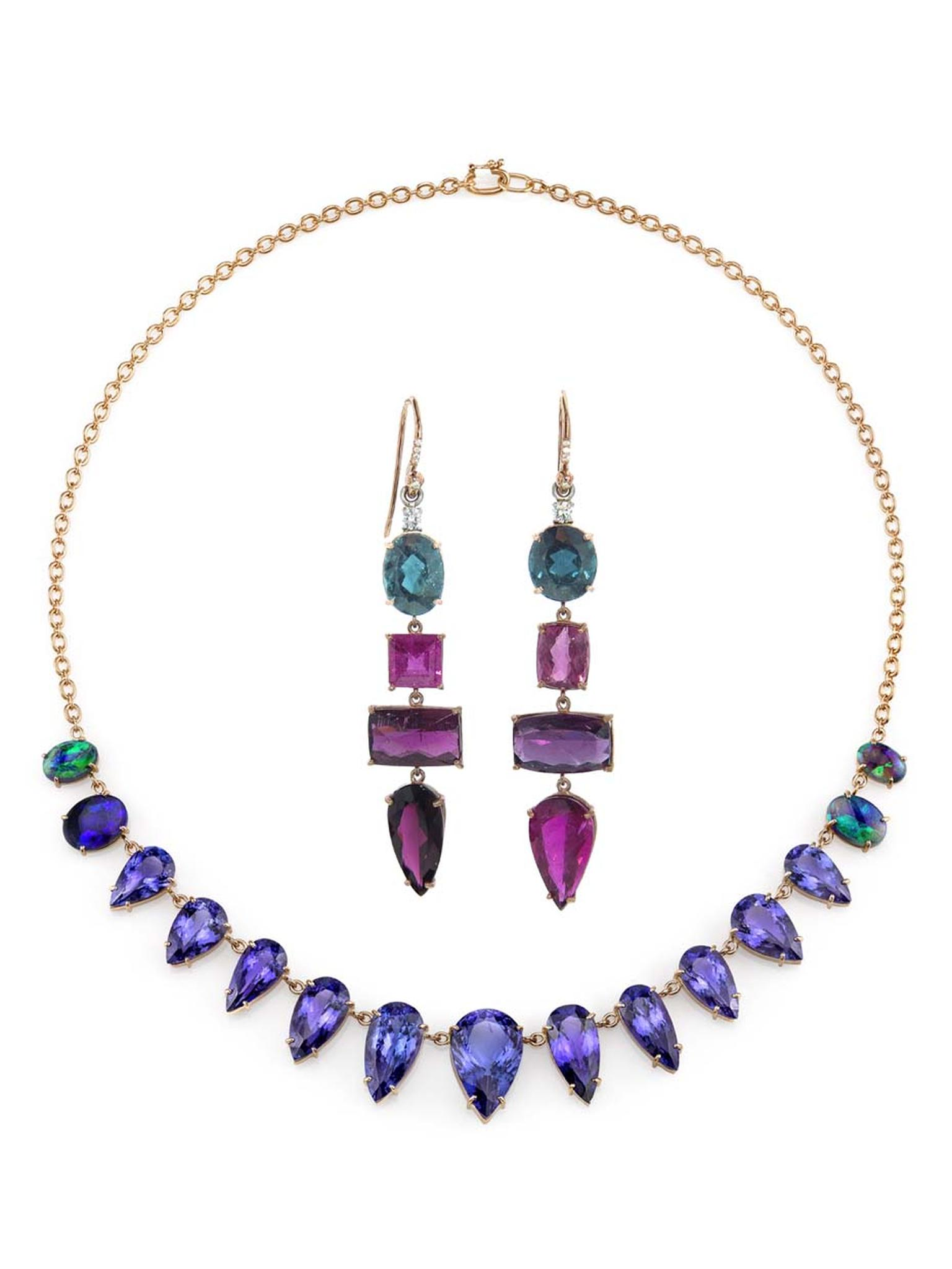 From Ylang23, Irene Neuwirth's one-of-a-kind tanzanite necklace and pink tourmaline, indicolite and diamond earrings.