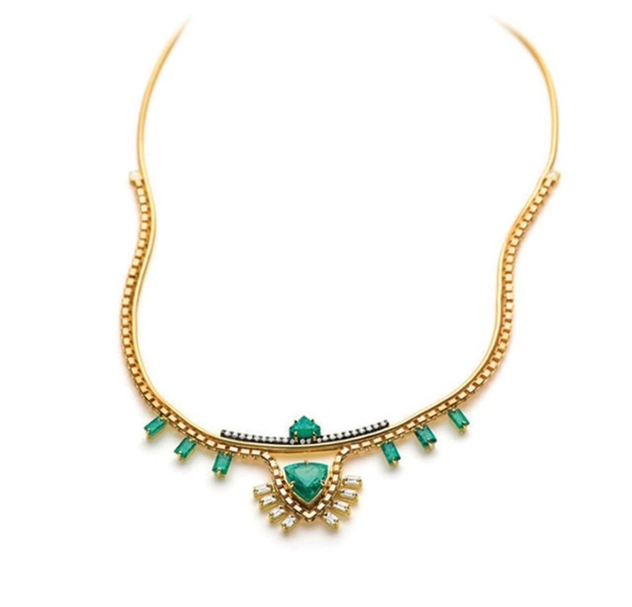 Jemma Wynne emerald and diamond necklace. Download the Spring app to buy.