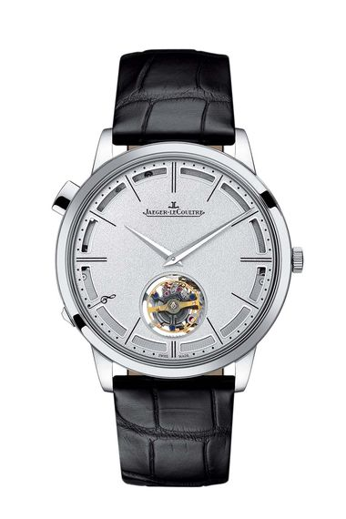 Jaeger-LeCoultre's Master Ultra Thin Minute Repeater Flying Tourbillon watch, from the Hybris Mechanica collection, conjugates two horological complications - a minute repeater and a flying tourbillon - in a case that measures just 7.9mm thick.
