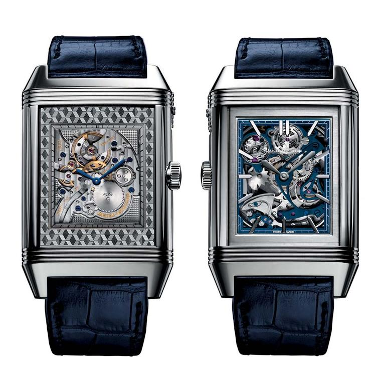 Jaeger-LeCoultre's Reverso Répétition Minutes à Rideau watch is unlike any other. Instead of depressing a pusher on the side of the case, the Reverso features a sliding white gold Venetian blind covering the watch. By sliding the curtain, the highly compl