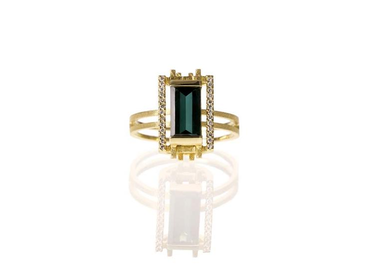Shimell and Madden's Prism collection Dark Green Frame ring with a mirror-cut, dark green tourmaline, framed by white diamond pavé.