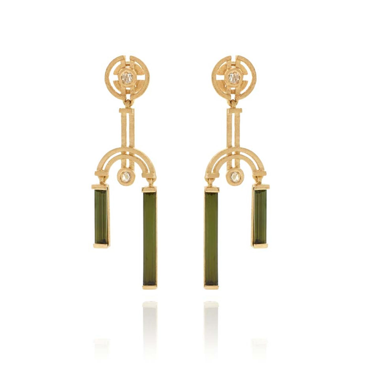 Shimell and Madden's Symmetry collection Double Drop earrings with rose-cut white diamonds and baguette-cut green tourmalines.