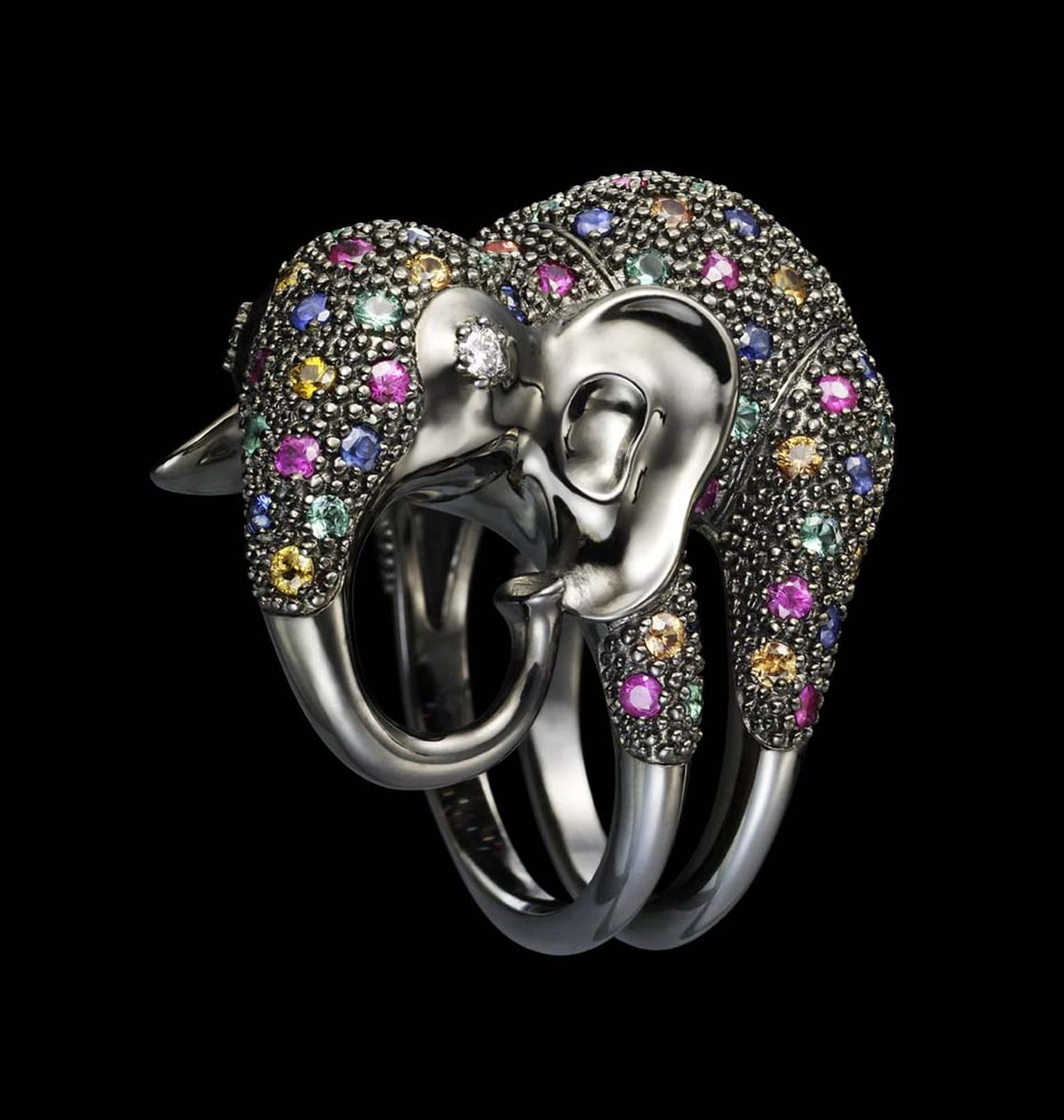 Dashi Namdakov Elephant ring in white gold and black rhodium with diamonds, sapphires, rubies and emeralds.