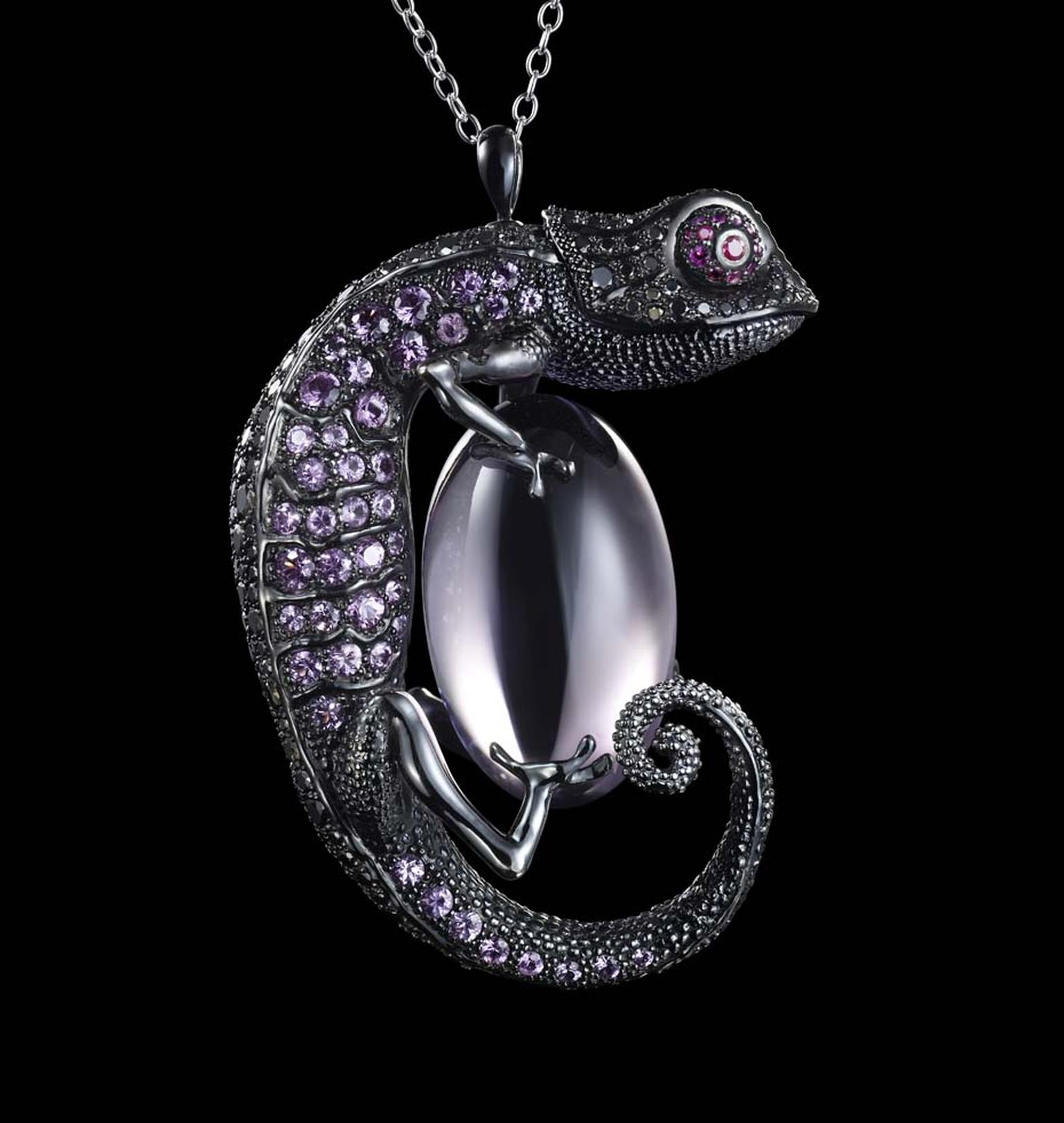 Dashi Namdakov Chameleon pendant in white gold and black rhodium with black diamonds, rubies, sapphires and amethysts.