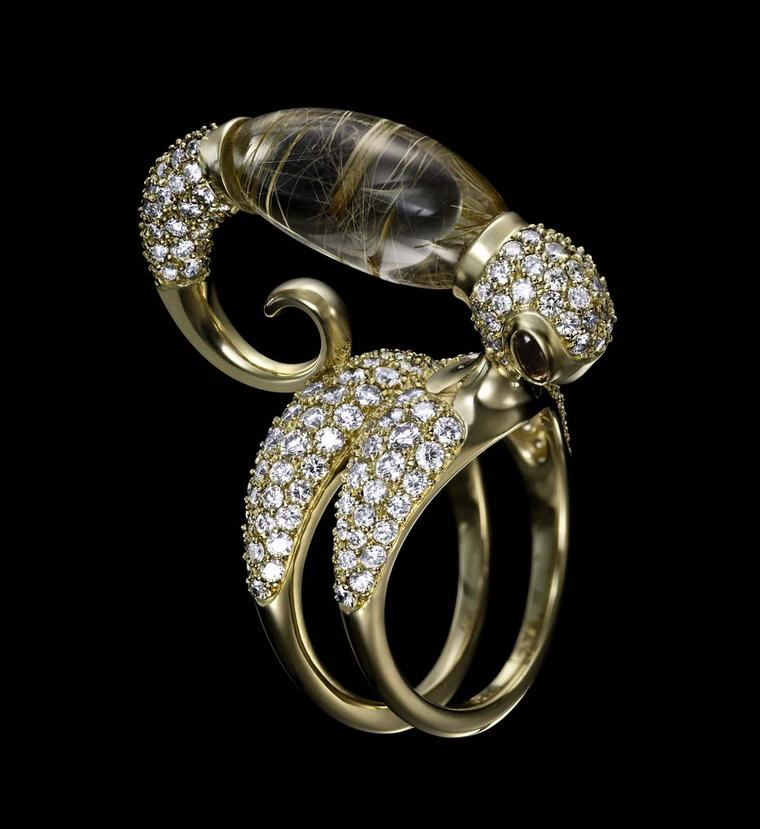 Dashi Namdakov Transformation Erdeny ring in yellow gold with diamonds and rutilated quartz.