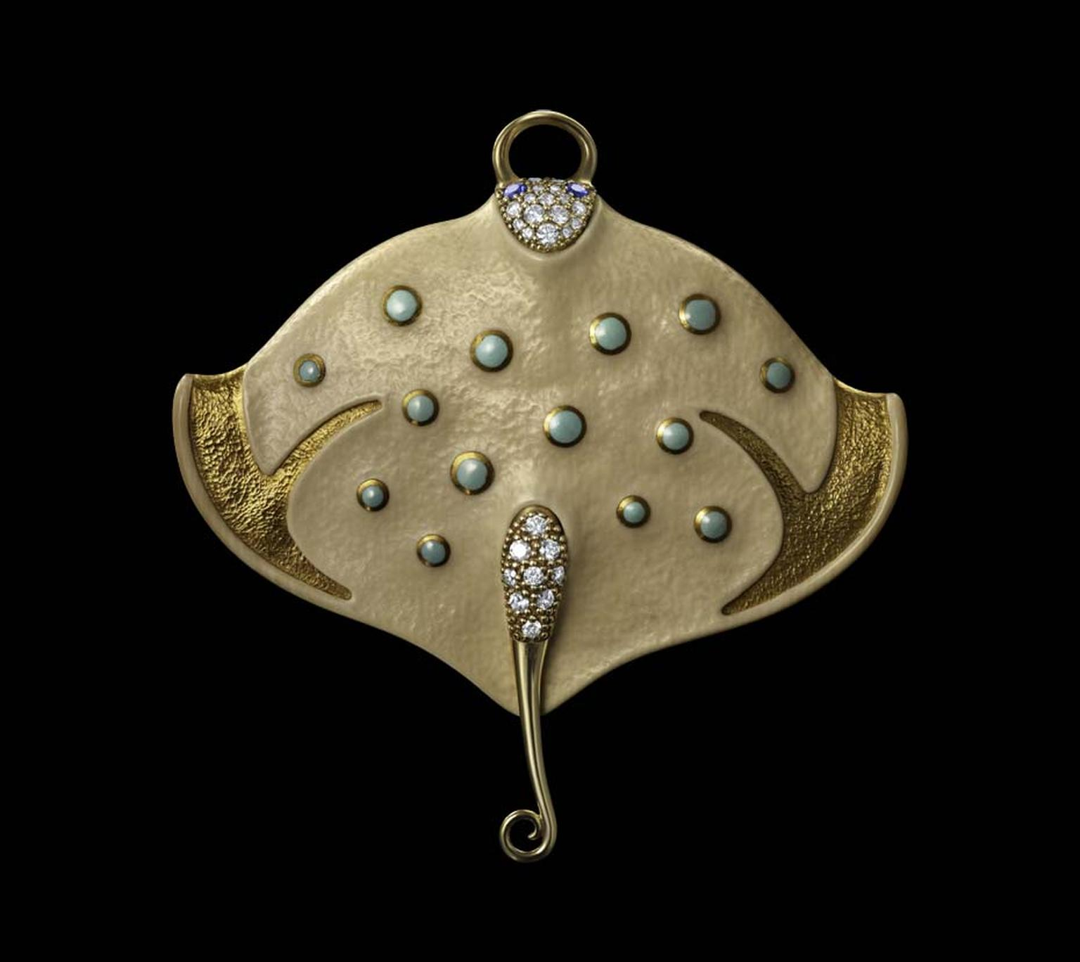 Dashi Namdakov Manta pendant in yellow gold with diamonds, turquoise, sapphires and mammoth.