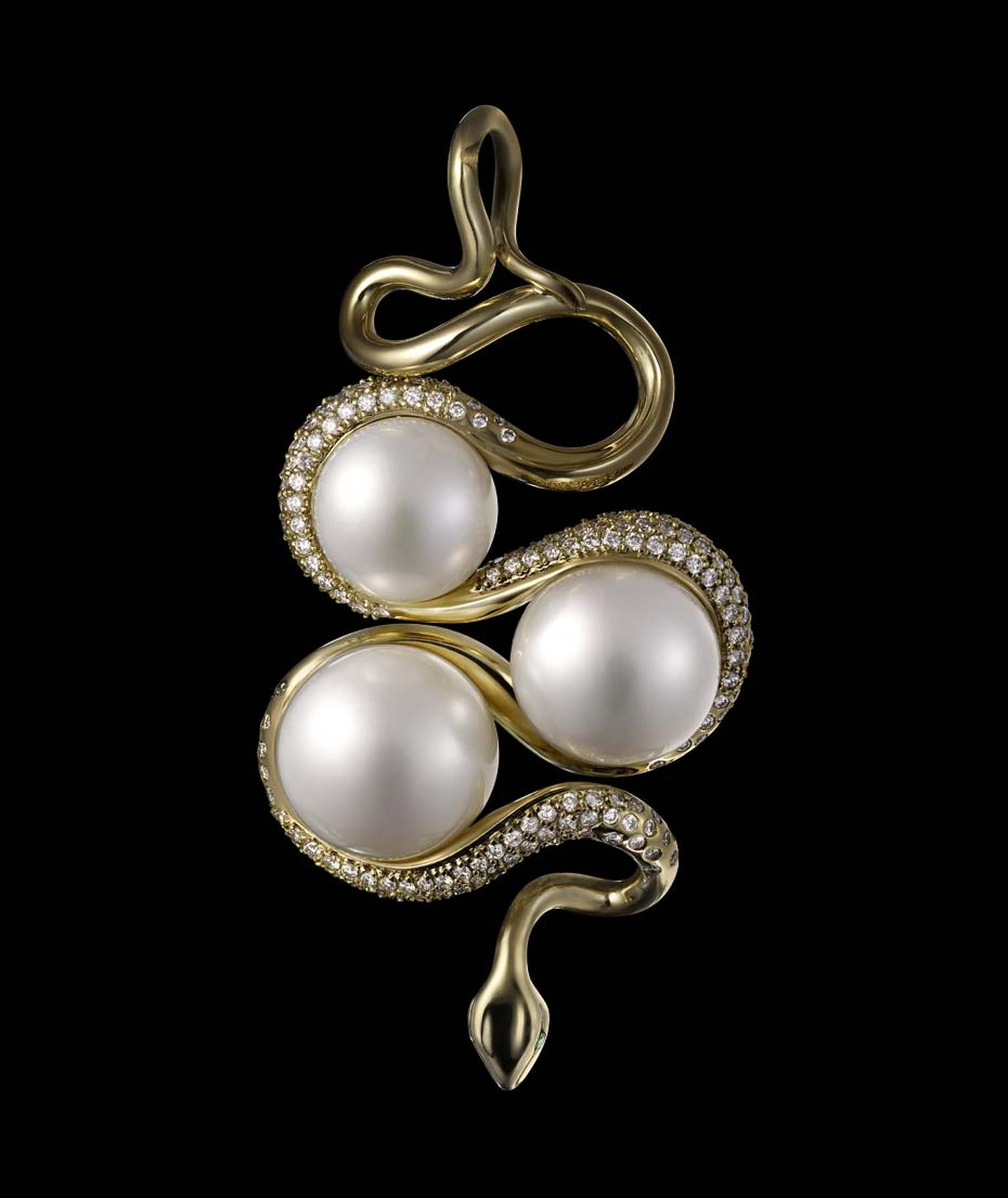 Dashi Namdakov Golden Snake pendant with diamonds, pearls and emeralds.