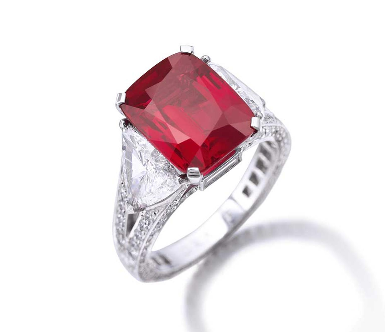 "A rare Graff ruby ring featuring a cushion-cut 8.62ct Burmese ruby in a ""pigeon's blood"" shade of red (estimate: US$6.8-9 million) leads the sale of Dimitri Mavrommatis' private collection of jewels at Sotheby's Geneva on 12 November 2014."
