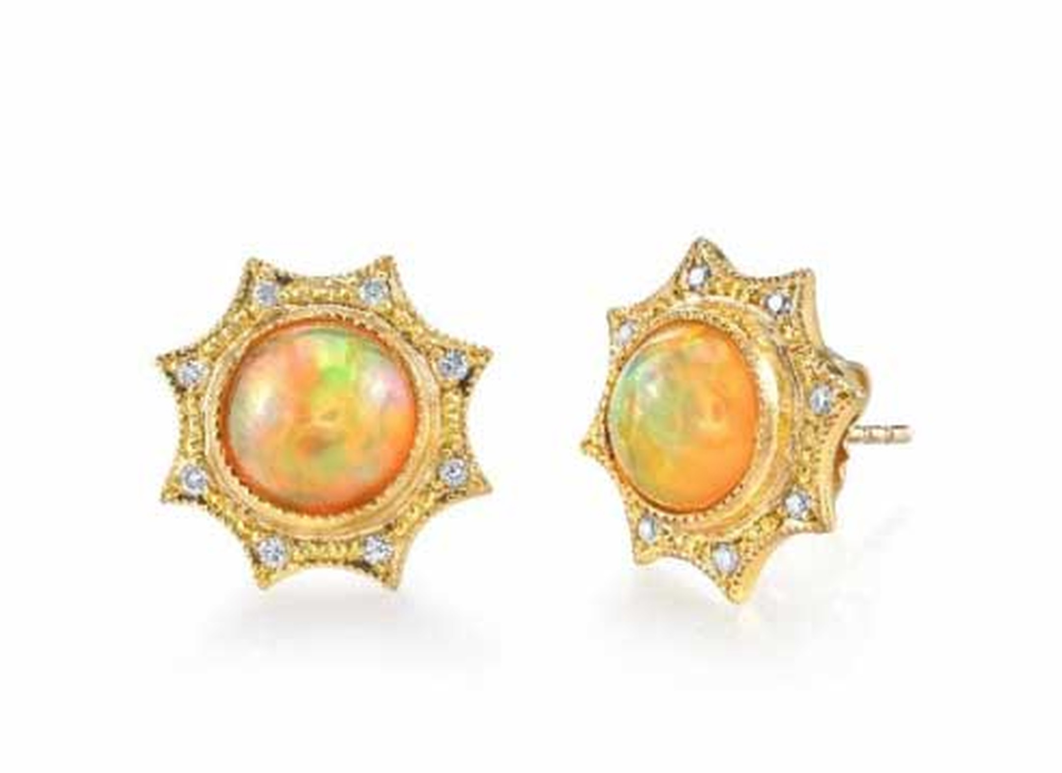 Arman Sarkisyan Opal Star earrings featuring a central opal framed by eight diamonds.