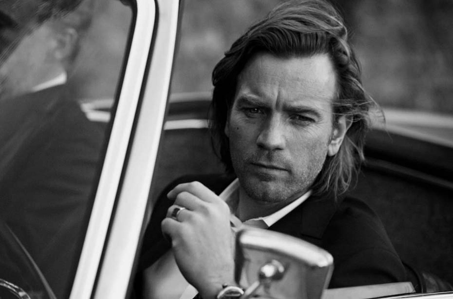 A suave Ewan McGregor on the set of the IWC Portofino Midsize shoot.
