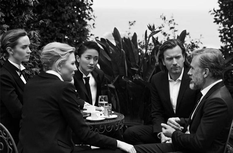 A-list actresses and actors Cate Blanchett, Emily Blunt, Zhou Xun, Ewan McGregor and Chrisoph Waltz mid-conversation in Portofino, Italy, during the Peter Lindbergh shoot.