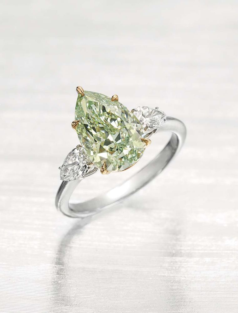 This pear-shaped 3.51ct Fancy Intense green diamond ring, flanked by two white diamonds, was expected to achieve between US$800,000 and $1.2 million no result has been published suggesting it went unsold.